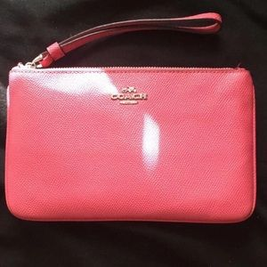 Coach hot pink leather Wristlet wallet